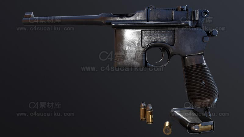 C4素材库-毛瑟C96手枪C4D模型