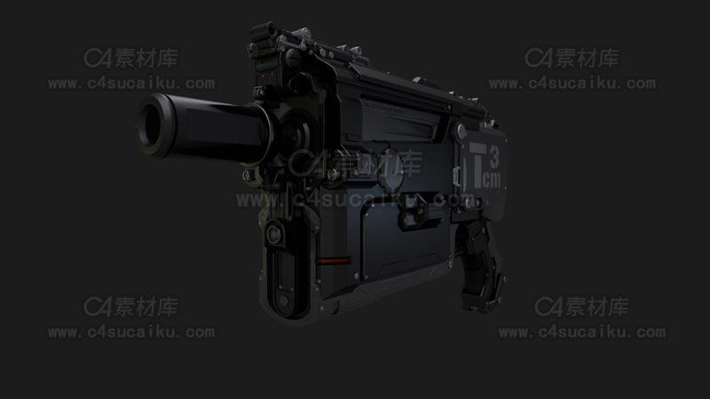 C4素材库-冲锋枪C4D模型-3
