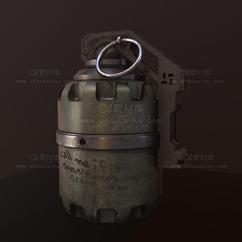 C4素材库-手榴弹手雷C4D模型-3