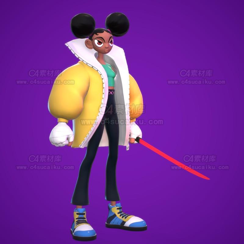 C4素材网-卡通女孩人物角色C4D模型
