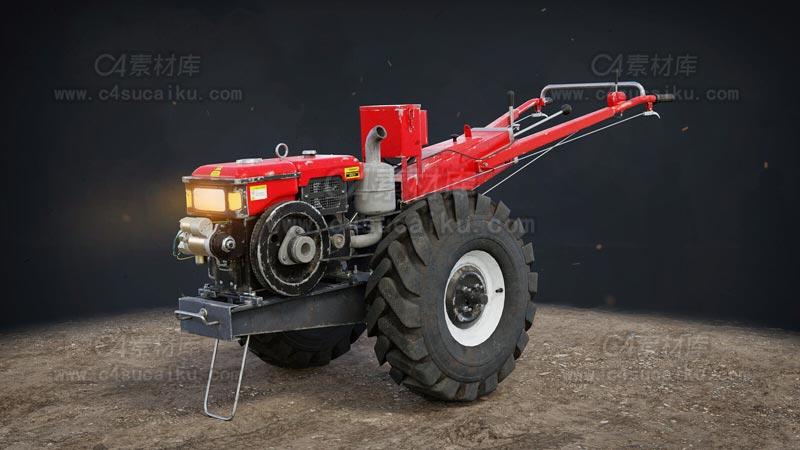 C4素材库-拖拉机C4D模型-1