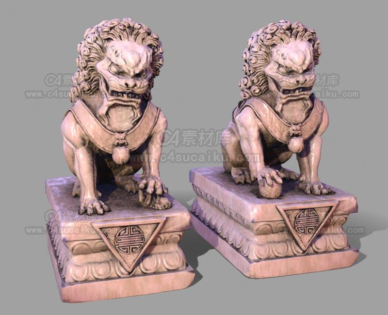 C4素材库-狮子石像C4D模型