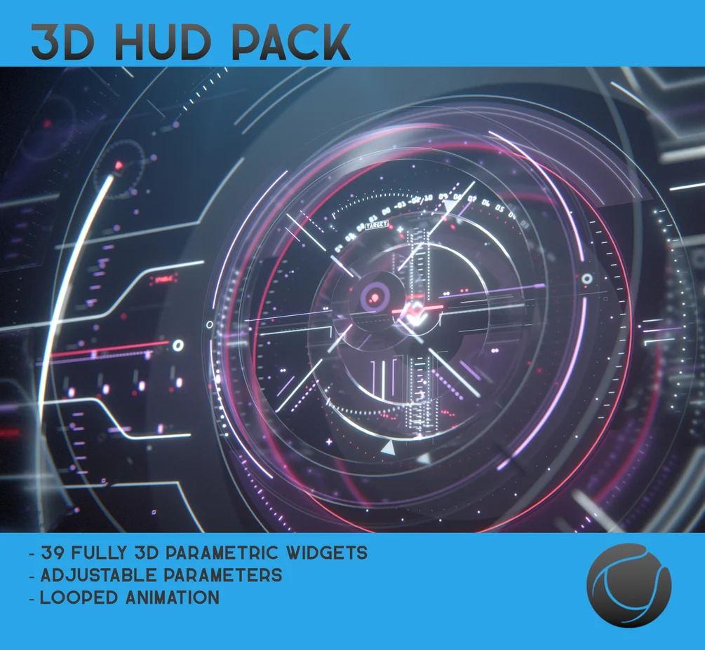 C4素材网-C4D预设-HUD资产预设包