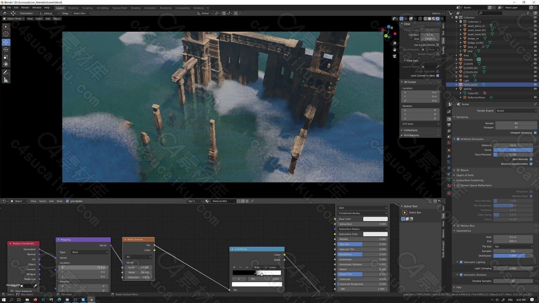 C4素材网-Blender教程-海上城市废墟遗迹场景