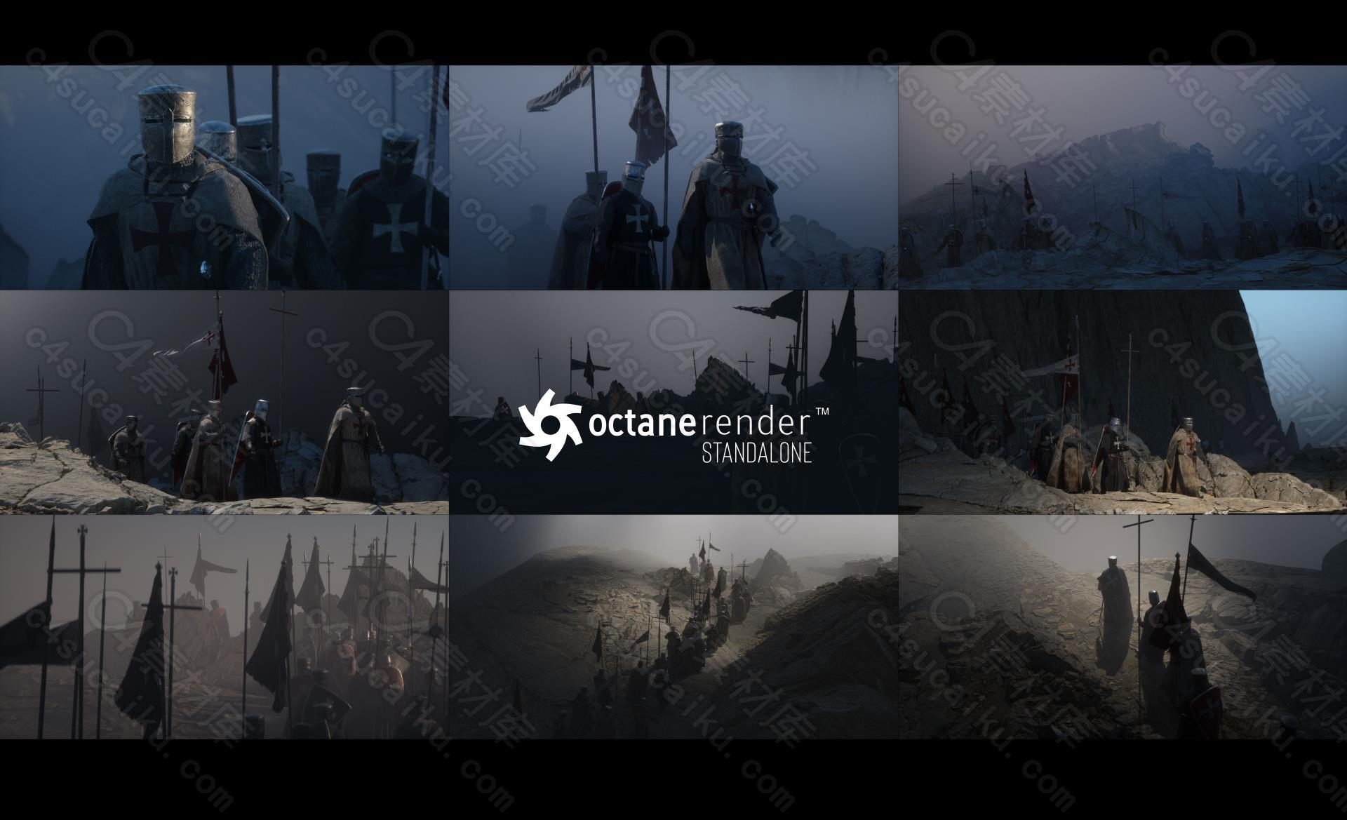 C4素材网-中世纪风十字军Octane Render渲染技术核心技能训练视频教程