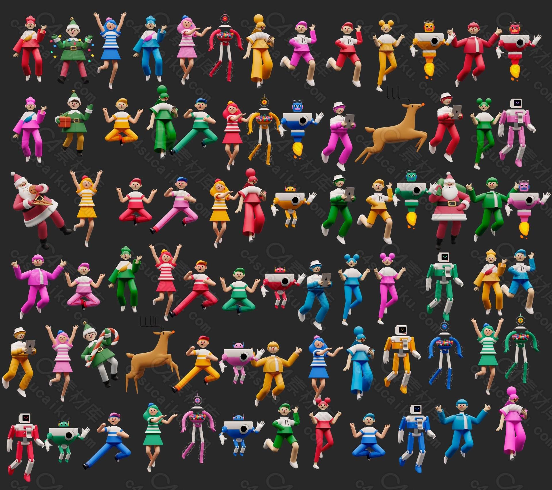 C4素材网-Blender工程-3D卡通人物角色场景合集【带绑定】