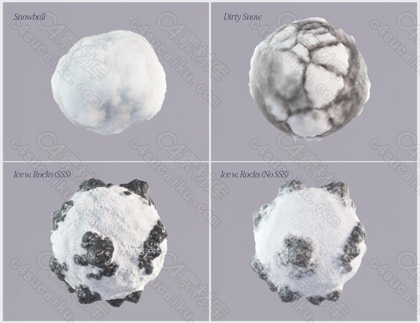 C4素材网-C4D工程-程序化冰雪OC材质球