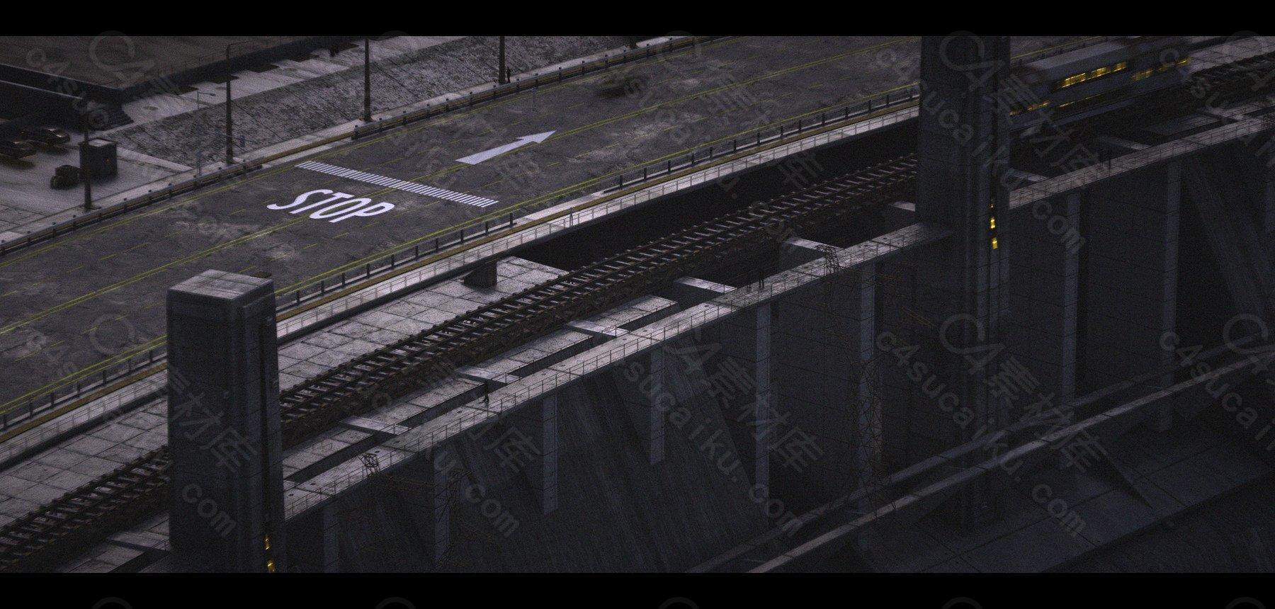 C4素材网-C4D工程-大坝山脉场景