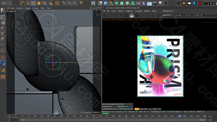 C4素材网-唤醒感官的C4D和OctanePrism艺术作品教程