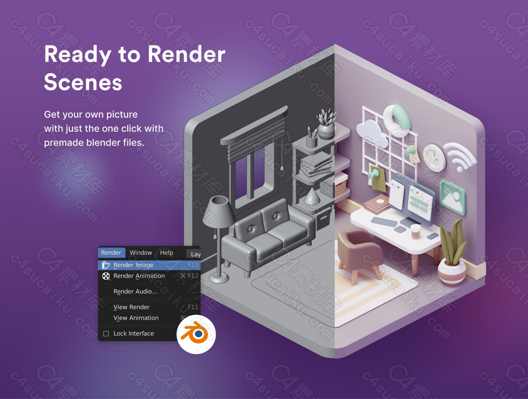 C4素材网-Blender工程-3D 工作空间插图
