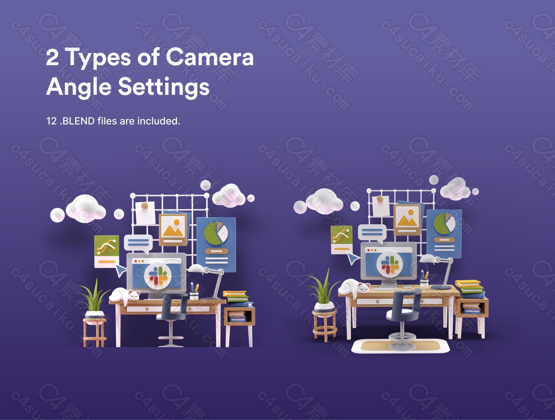 C4素材网-Blender工程-200组室内卡通模型