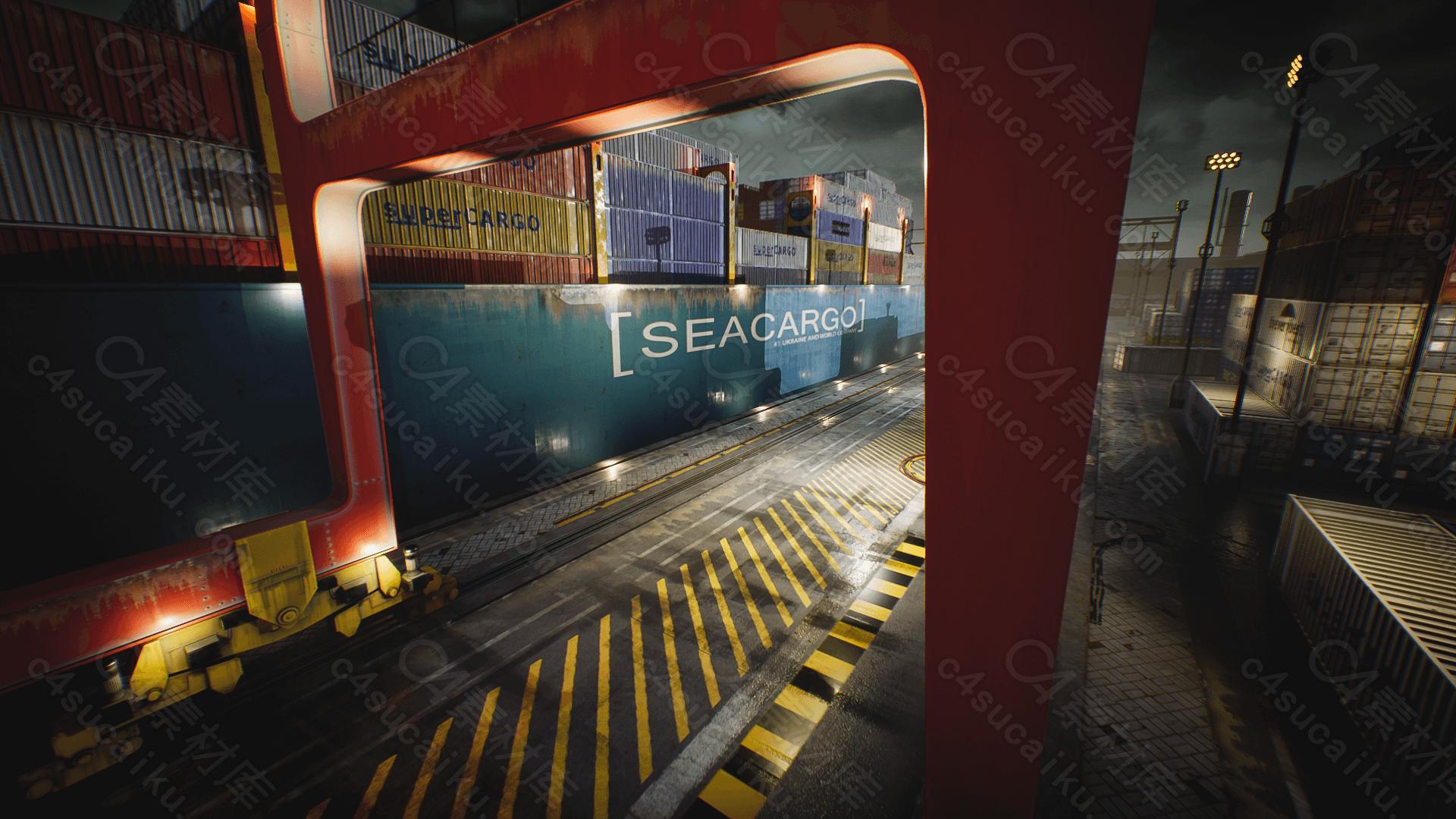 C4素材网-UE4资产-游轮港湾集装箱资产包