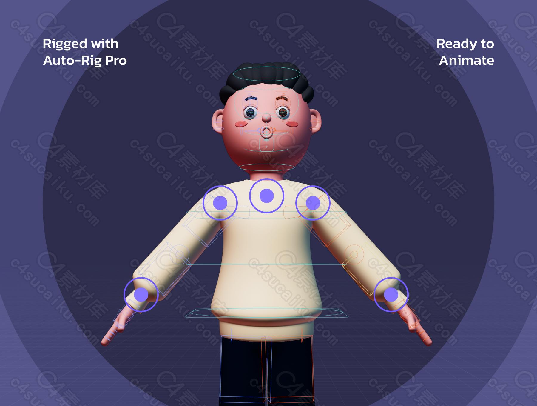 C4素材网-Blender工程-3D卡通人物UI图标合集